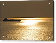 Cargo Ship In The Sunset Acrylic Print