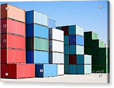 Cargo Shipping Containers Stacked At Acrylic Print