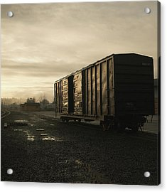 Cargo Train Car At Sunrise, Sepia Acrylic Print