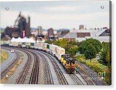 Cargo Train Photographed Using A Acrylic Print
