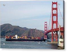 Cargo Vessel Entering The Golden Gate Acrylic Print