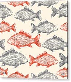 Carp Fish Asian Style Seamless Pattern Acrylic Print