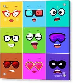Cartoon Faces With Emotions V.12 - Acrylic Print