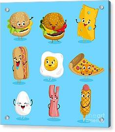 Cartoon Funny Fast Foods Characters Acrylic Print