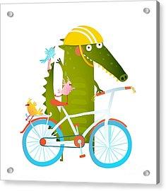 Cartoon Green Funny Crocodile In Helmet Acrylic Print