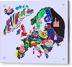 Cartoon  Map Of Europe. Travels Acrylic Print by Daria i