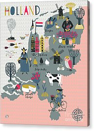 Cartoon Map Of Holland With Legend Icons Acrylic Print by Lavandaart