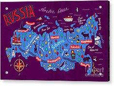 Cartoon Map Of Russia. Travels Acrylic Print