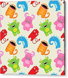 Cartoon Monsters Seamless Pattern Acrylic Print