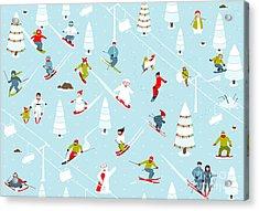 Cartoon Mountain Ski Resort Seamless Acrylic Print