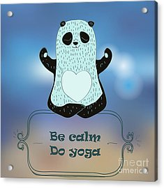 Cartoon Panda Bear Making Yoga Acrylic Print