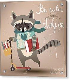 Cartoon Raccoon On Scooter Acrylic Print