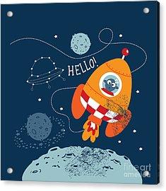 Cartoon Vector Illustration Of Space Acrylic Print
