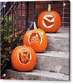 Acrylic Print featuring the photograph Carved Pumpkins For Autumn Holidays by Tatiana Travelways