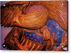 Carved Wood - Eagle Acrylic Print by D Davila
