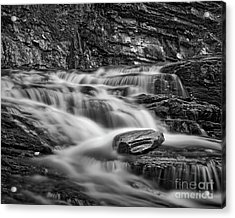 Acrylic Print featuring the photograph Cascade 2 Bw by Patrick M Lynch