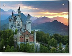 Castle Neuschwanstein With A Dramatic Acrylic Print