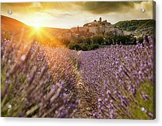 Castle Overlooking Field Of Flowers Acrylic Print by Cultura Rm Exclusive/walter Zerla