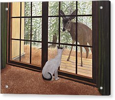 Cat Meets Deer Acrylic Print