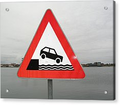 Caution Sign At Harbor Acrylic Print