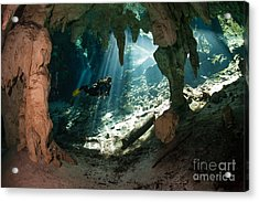 Cave Diving In Cenote Acrylic Print