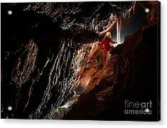 Cave Explorer, Speleologist Exploring Acrylic Print