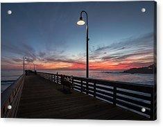 Cayucos Pier Sunset Acrylic Print