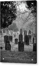 Acrylic Print featuring the photograph Cemetery In The Pines Bw by Kristia Adams