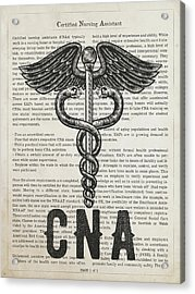 Certified Nursing Assistant Gift Idea With Caduceus Illustration Acrylic Print