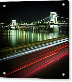 Chain Bridge At Night In Budapest Acrylic Print by Mark Whitaker