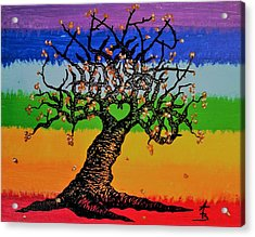 Acrylic Print featuring the drawing Chakra Love Tree by Aaron Bombalicki