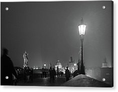 Acrylic Print featuring the photograph Charles Bridge At Night by Mark Duehmig