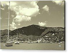 Charlotte Amalie Harbor In Sepia Acrylic Print