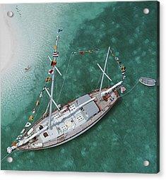 Charter Ketch Acrylic Print by Slim Aarons