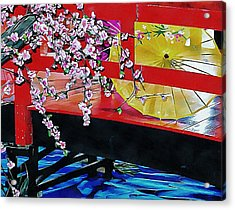 Acrylic Print featuring the photograph Cherry Blossom Bridge by Dorothy Berry-Lound