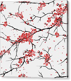 Cherry Or Sakura Seamless Pattern Acrylic Print by Sofiav
