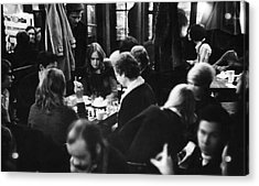 Chess At Cafe Fiagro Acrylic Print by Fred W. McDarrah