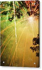 Yellow Fireworks Acrylic Print