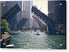 Chicago Bridges Acrylic Print by By Ken Ilio