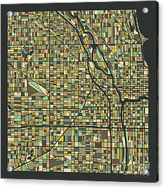 Chicago Map 2 Acrylic Print by Jazzberry Blue