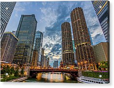 Chicago River Sunset Acrylic Print by Carl Larson Photography