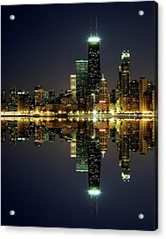 Chicago Skyline Reflected On Lake Acrylic Print by Pawel.gaul