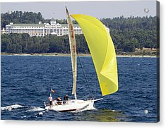 Chicago To Mackinac Yacht Race Sailboat With Grand Hotel Acrylic Print