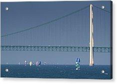Chicago To Mackinac Yacht Race Sailboats With Mackinac Bridge Acrylic Print