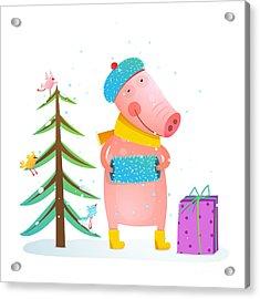 Childish Cheerful Little Pig In Winter Acrylic Print