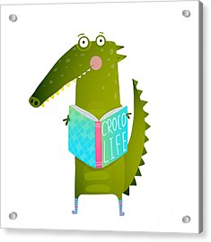Childish Student Crocodile Reading Book Acrylic Print