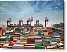 China, Shanghai Harber Container Box Acrylic Print