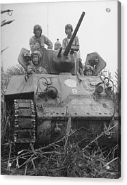 Chinese Army In Tank During Burma Campaign Acrylic Print by William Vandivert