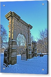 Chorley. Gates In The Snow Acrylic Print