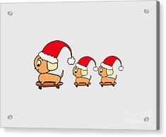 Christmas Dogs On Skateboards Acrylic Print